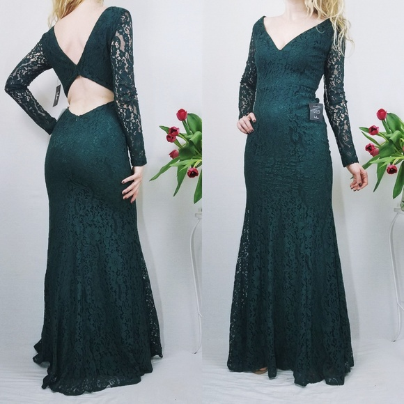 e6108205732 Beautiful Forest Green Lace Long Sleeve Maxi Dress